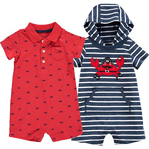 Carter's Baby Boys' One Piece Rompers (Pack of 2) (Navy Crab/Red, 12 Months)