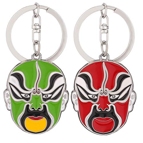(Red & Green Peking Opera Mask Key Chains Key Ring for Women, Men - Chinese Ethnic Style Keychain, Metal Zinc Alloy Key Pendant Charms with Gift Box (2pack))