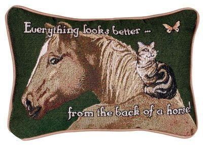 Simply Home Everything Looks Better Horse Cat Decorative Tapestry Pillow USA Made P-80 Bet,Black,9