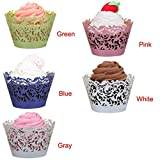 Gotd Halloween Decorations 50pc New! Halloween Lace Laser Cut Cupcake Wrapper Liner Baking Cup Muffin (Blue)