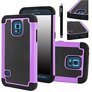 Galaxy S5 Sport Case, E LV Galaxy S5 Sport Case, S5 Sport Case (Sprint) - Full Body Hybrid Armor Protection for Samsung Galaxy S5 Sport with Backstand with 1 Black Stylus - purple