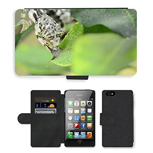 Just Phone Cases PU Leather Flip Custodia Protettiva Case Cover per // M00127837 Chameleon Lizard Camouflage // Apple iPhone 4 4S 4G