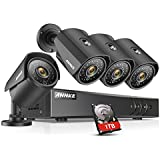 ANNKE H.264+ Security Camera System 8CH 1080P Lite DVR and (4) 960P Weatherproof Cameras, 1TB DVR Storage, Email Alert with Snapshots, Enable H.264+ to Record longer, Save money
