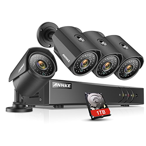 Annke H 264  Security Camera System 8Ch 1080P Lite Dvr And  4  960P Weatherproof Cameras  1Tb Dvr Storage  Email Alert With Snapshots  Enable H 264  To Record Longer  Save Money