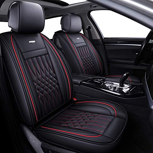 LUCKYMAN CLUB 5 Car Seat Covers Full Set with Waterproof Leather Universal for Sedan SUV Truck Fit for Most Hyundai Kia Honda Mazda Toyota Chevy Nissan (Black&Red Full Set) (Cover Truck Toyota Seat)