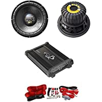 2) LANZAR MAX12D 12 2000W Car Subwoofers + 2 Ch. Power Amplifier + 4 Ga Amp Kit