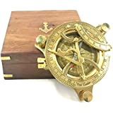 """INDIA OVERSEAS TRADING CORP 4.5"""" Sundial Compass With Teak Wood Box Inlaid With Solid Brass"""