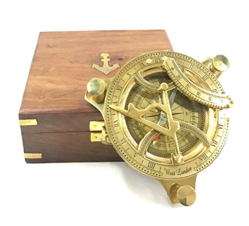 INDIA OVERSEAS TRADING CORP 4.5' Sundial Compass With Teak Wood Box Inlaid With Solid Brass