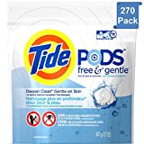 (PACK OF 270 PODS) Tide FREE & GENTLE Laundry Detergent PODS. High Efficiency & Non-High Efficiency. Detergent + Stain Remove + Brightener ALL IN ONE! All Temperatures. (270 Pods in Each Package)