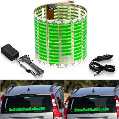 1 X 45x11cm DC 12V Sound Sensitive Music Beat Activated Car Sticker Equalizer Glow Green LED Light with Car Cigarette Charger Universal Decoration by Aurnoc (Image #8)