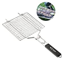 Aolvo Portable BBQ Grilling Basket 430 Stainless Steel Removable Wooden Handle