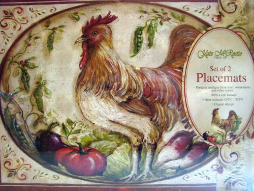 - Kate McRostie Set of 4 Cork Backed Placemats French Country Rooster Wipe Clean