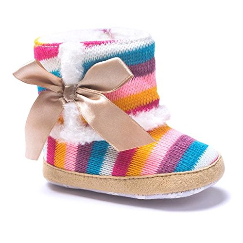 CieKen Baby Girl Rainbow Stripe Coral Fleece Snow Boots Shoes with Bowknot