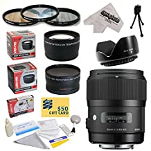 Sigma 340306 35mm F1.4 DG HSM Lens for The Nikon D1 D1X D1H D2X D2Xs D2H D2Hs D3 D3X D3s D100 D200 D300 D300S D700 D7000 D7100 D3000 D3100 D3200 D5000 D5100 D5200 D5300 D40 D40X D50 D60 D70 D90 D80 DSLR Cameras Includes 3 Year Extended Lens Warranty + 0.43x High Definition II Wide Angle Panoramic Macro Fisheye Lens + 2.2x Extreme High Definition AF Telephoto Lens + Professional 67MM 3 Piece Pro Filter Kit (UV, CPL, FLD) + Flower Lens Hood + Deluxe Lens Cleaning Kit + LCD Screen Protectors + Mini