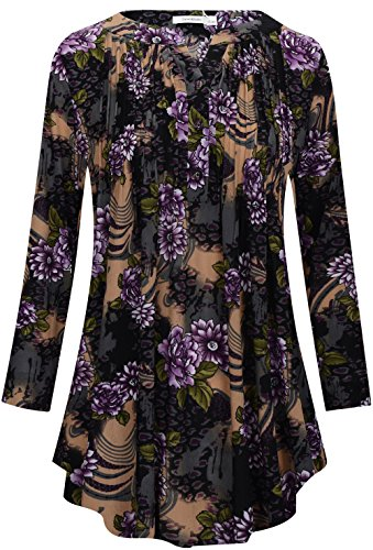 Ladies Henley Top (Calvin & Sally Tunic Shirts to Wear With Leggings,Ladies V Neck Printed Pleated Long Sleeve Henley Drape Top Purple Flower XL)