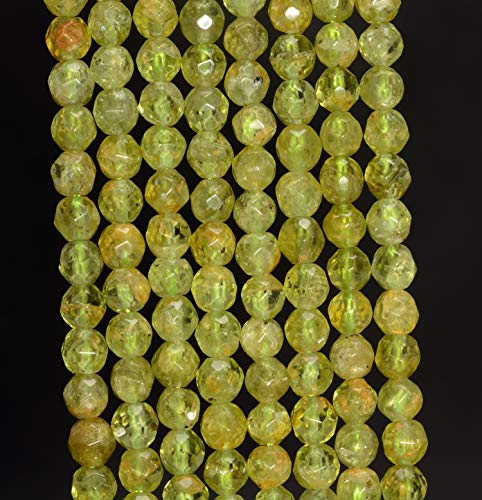 (5MM Peridot Gemstone Grade A Faceted Round Loose Beads 15.5
