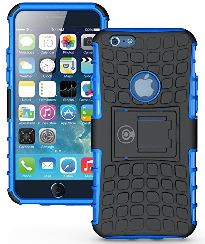 iPhone 6S Case, iPhone 6 Case by Cable and Case – [HEAVY DUTY] Tough Dual Layer 2 in 1 Rugged Rubber Hybrid Hard/Soft Impact Protective Cover [With Kickstand] Shipped from the U.S.A. – Blue