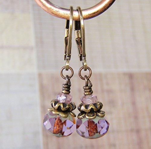 Lavender Earrings Antique Brass Ear Wire