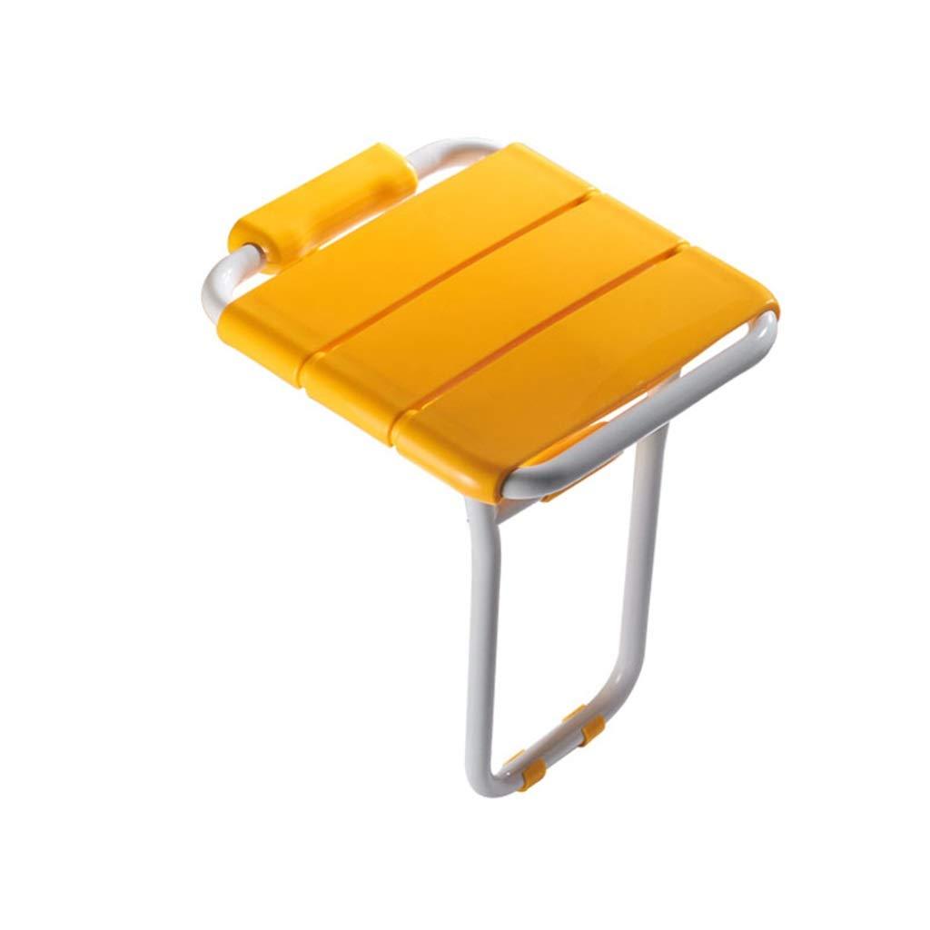 バススツール シャワースツールバススツールバスルーム折りたたみシート抗菌壁に取り付けられたモバイル補助浴室パンチング最大ベアリング200kg白と黄色 滑り止めシャワーシートスツール (色 : イエロー いえろ゜)  イエロー いえろ゜ B07K5SLWFR