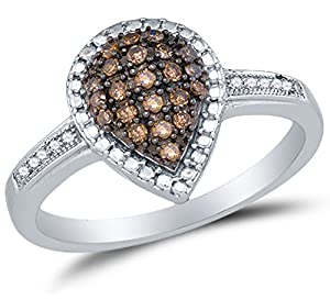 Size 5 - 925 Sterling Silver Chocolate Brown & White Round Diamond Engagement Ring - Prong Set Pear Center Setting Shape with Micro Pave Set Side Stones (1/5 cttw.)