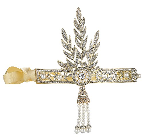 BABEYOND Bling Golden-Tone The Great Gatsby Inspired Leaf Simulated Pearl Headband Hair Tiara (Great Gatsby Daisy Dress)
