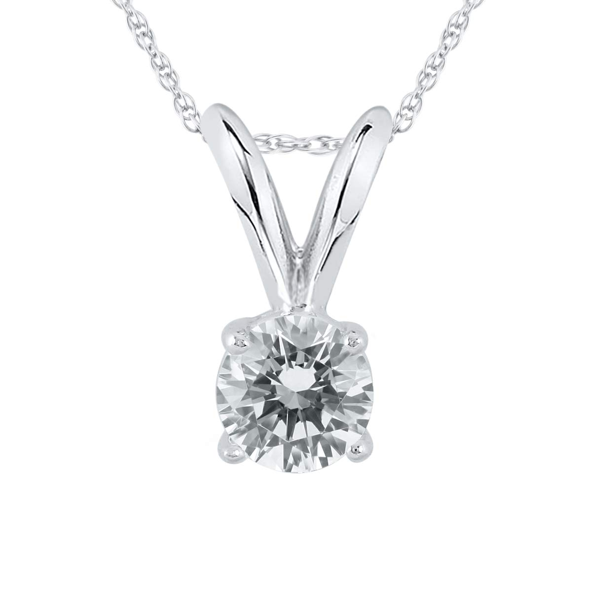 AGS Certified 1/4 Carat Round Diamond Solitaire Pendant in 14K White Gold (K-L Color, I2-I3 Clarity)