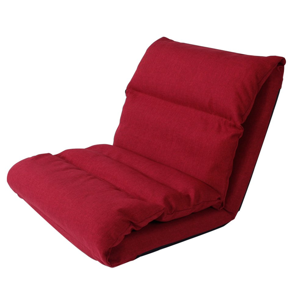 Single foldable lazy sofa / bed chair / bedroom small sofa / floating window pad, cloth linen, sterile breathable, all seasons ( Color : Red )