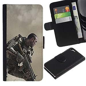 """JackGot ( Futuro Traje Soldado"""" ) Apple iPhone 5 / iPhone 5S la tarjeta de Crédito Slots PU Funda de cuero Monedero caso cubierta de piel"""