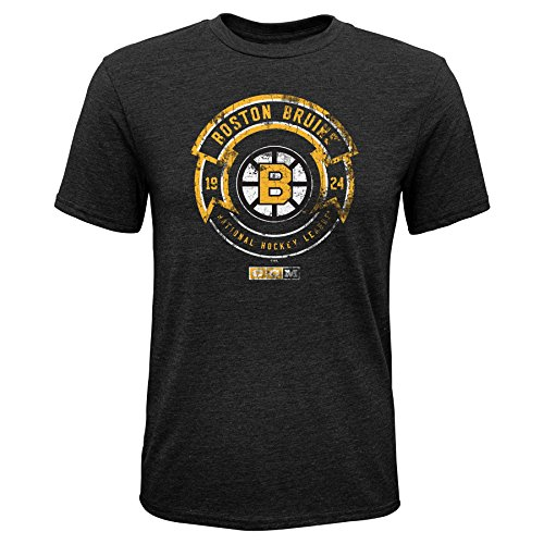 Outerstuff NHL Boston Bruins Youth Enforcer Triblend Short Sleeve Tee, X-Large/(18), Black (Boston Bruins Tee 50)