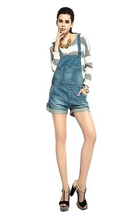 5e053d85ec3 Women s Light Wash Denim Short Pinafore Dungaree Jumpsuit Hot Pants Bib Overalls  Shorts (M