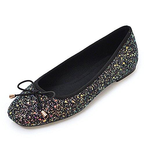 - Women's Flats Shoes Ballet Yoga Dancing Simple Soft Suede Dress Shoes (10.5 US/26 cm B(M), Sequins)