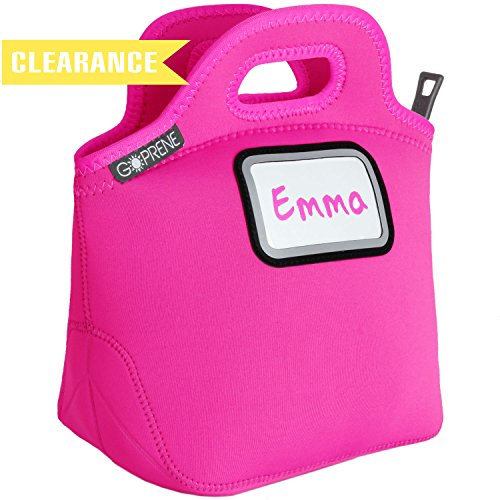 Girls Hot Pink Neoprene Lunch Bag for Kids | Identi-Tote by GOPRENE | Insulated, Reusable, Foldable, Washable