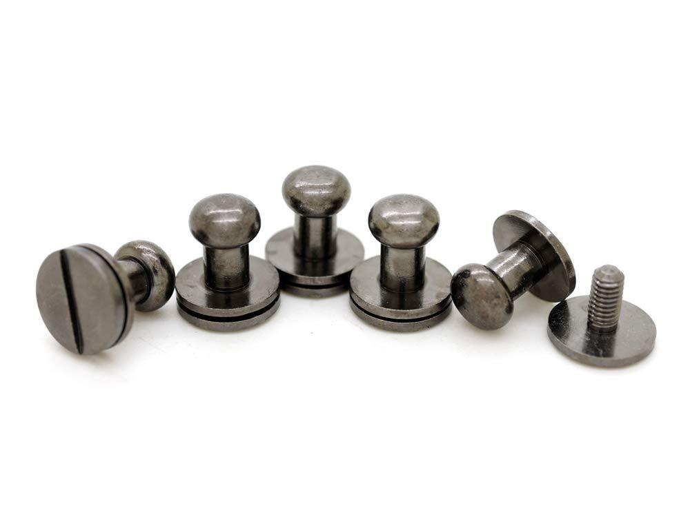 CRAFTMEmore Solid Brass Ball Head Stud Screw Back Nipple Rivet Studs Button Strap Stopper Leathercraft Gunmetal Black Finish 10 Pack 4 mm