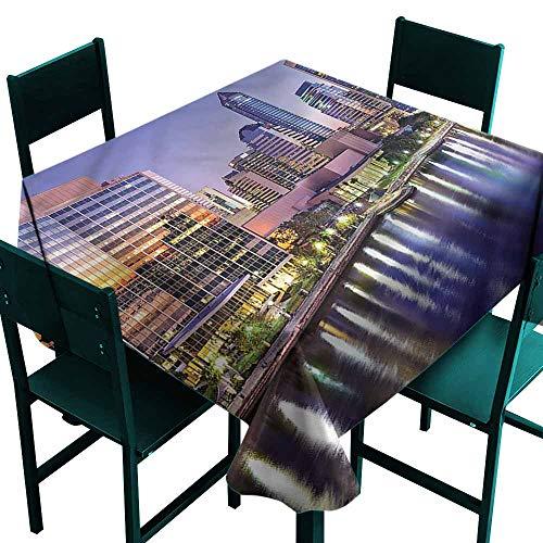 DONEECKL Dust-Proof Tablecloth USA Florida City Life River at Dawn Picnic W54 xL54 ()