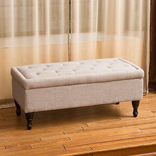 Christopher Knight Home 239307 Logan Grey Fabric Storage Ottoman
