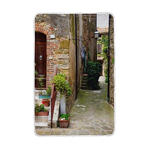 (YOHHOY View of an Old Mediterranean Street with Stone Luxury Blanket Throw Lightweight Cozy Plush Microfiber Solid)