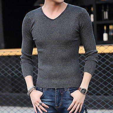 DESY Hombres Delgados de Color sólido de Manga Larga Jersey de Cuello en V suéter de Punto Camisa de imprimación de la Camisa Apretados Hombres: Amazon.es: Deportes y aire libre