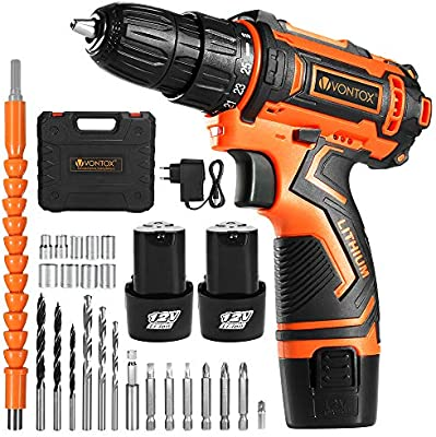 10mm Cordless Drill 25pcs Drill Kit 3//8 1 Extra Li-Ion Battery 12V + 1 Extra Battery /& Kit Chuck Opening 12V//21V Drill Set 1 Hour Fast Charge, 18+1 /& 15+1 Torgue Setting 2 Speed