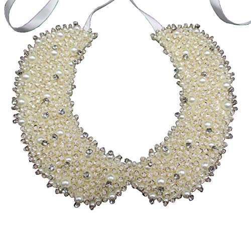 - Faux Pearl Sequin Crystal and Rhinestone Beaded Embellished Peter Pan Collar Necklace (Ivory)