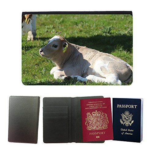 (Just Phone Cases Flip PU Leather Travel Passport Wallet Case with Flight Ticket Slots // M00128238 Calf Holstein Cattle Cow Holstein Cow // Universal Passport Leather Cover)