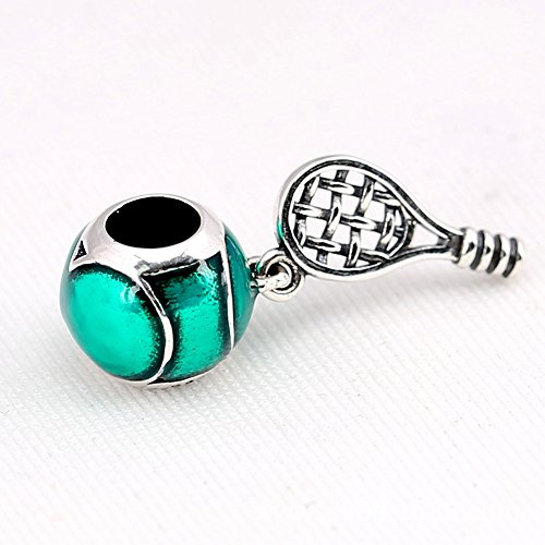 BEAUTY 925 Sterling Silver Green Tennis Racket Beads For lady And Girl GIFT Fit Necklace and Bracelet