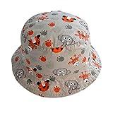 TANGDA Kids Toddler Cotton Fisherman Hat Cute Zoo Pattern Sunhat With Chin Strap