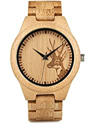 BOBO BIRD Japan Quartz Casual Wood Bamboo Wrist Pocket Watch with Elk Shape Dial (Men)