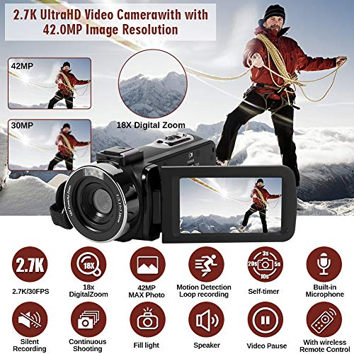 Camcorder Video Camera Full HD 2.7K 42MP YouTube Camera 18X Digital Zoom Fill Light Pause Function with 3.0''LCD and 270°Rotation Screen Camcorder Camera with Remote Control