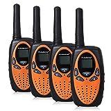 FLOUREON 22 CANALES FRS/GMRS RADIO DE 2 VÍAS HASTA 3000M/1,9MI ALCANCE (MAX 5000M/3.1MI) WALKIE-TALKIE PORTÁTIL UHF (PAQUETE DE 4, NEGRO ANARANJADO)