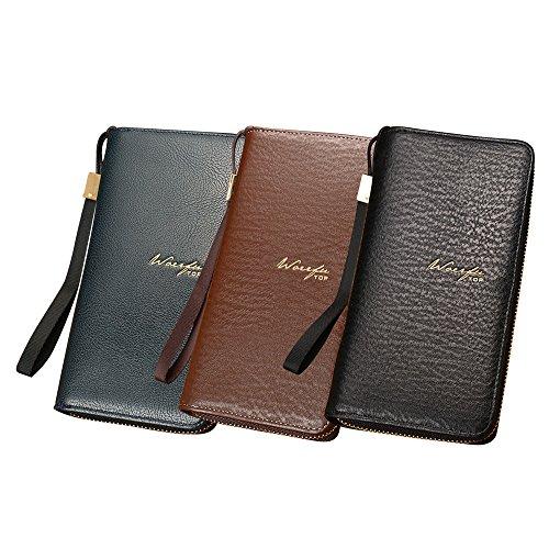 Capacity Multi Bleu Men's Large card Bag Hand Long Zipper Phone Section Ihaza AgRxqC60wC