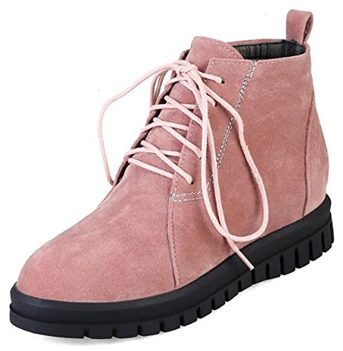 Heighten Suede Faux Inside Ankle up Round Pink Lace Vintage Toe Boots Low Heel Women's Mofri Platform qtEAxYp
