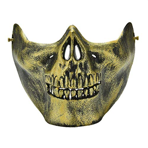 Scary Skull Skeleton Mask Halloween Costume Half Face Masks for Party Gold ()