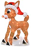 ProductWorks 24-Inch Pre-Lit Rudolph in Santa Hat Christmas Yard Decoration, 50 Lights