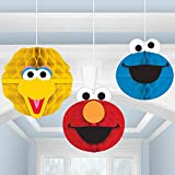 Sesame Street Party Hanging Honeycomb Decor Big Bird, Elmo and Cookie Monster